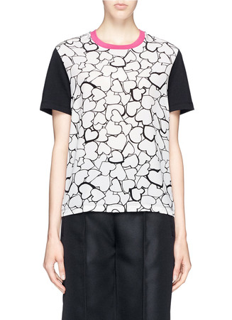 Heart print silk cotton jersey combo T-shirt