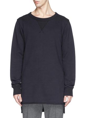 High-low side split hem long sweatshirt