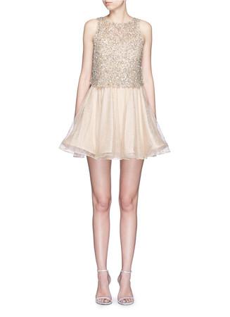 'Hilta' sequin embellished combo flare dress
