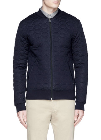 Honeycomb quilted jersey bomber jacket