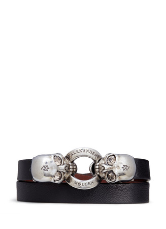 Horsebit twin skull double wrap leather bracelet