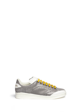 Houndstooth leather patchwork sneakers