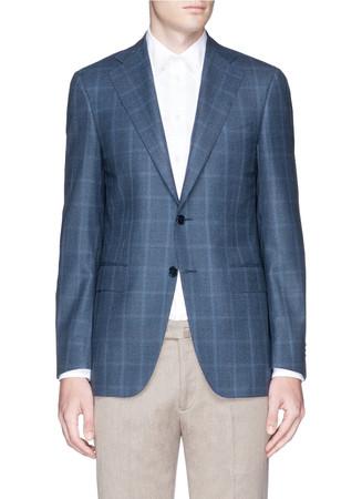 Houndstooth plaid wool blazer