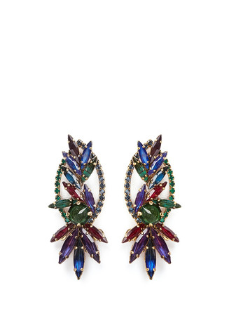 'Hyperdrive' Swarovski crystal oval leaf earrings