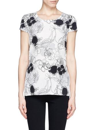Inkblot floral print silk top