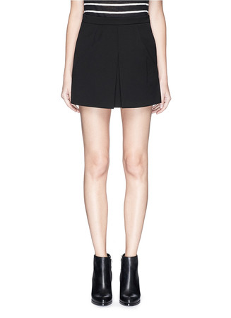 Inverted front pleat ponte knit skirt