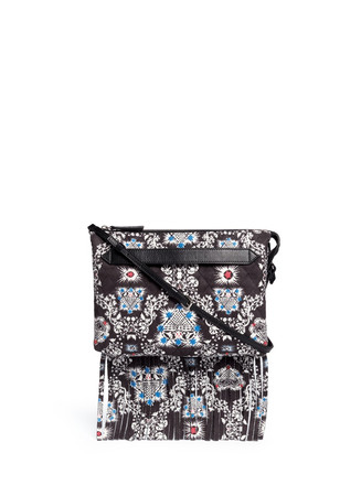 Ivy print quilted suede clutch