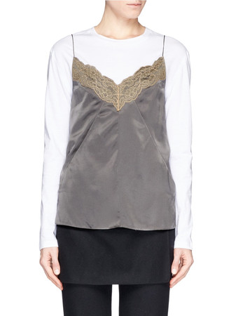 'Izabella' scallop lace trim silk camisole