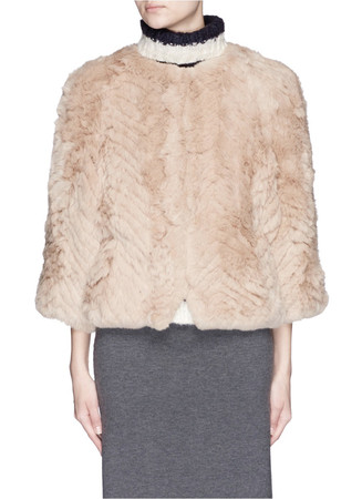 'Jagger' kimono sleeve rabbit fur knit jacket