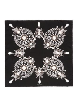 Jewel print silk twill scarf