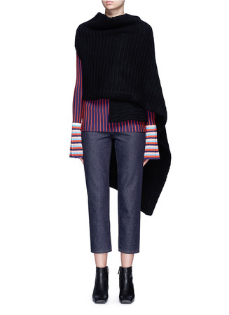 'Jodi' rib knit wool wrap scarf