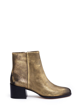 'Joey' brushed metallic leather boots