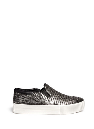 'Karma' metallic lizard effect leather flatform slip-ons