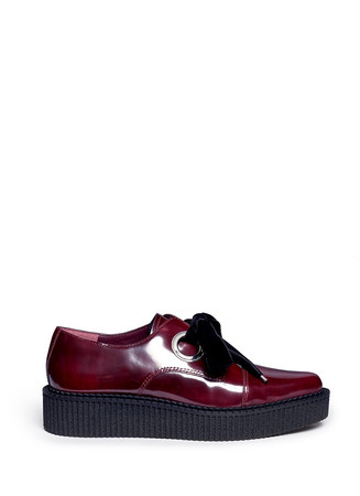 'Kent' velvet tie platform leather creepers