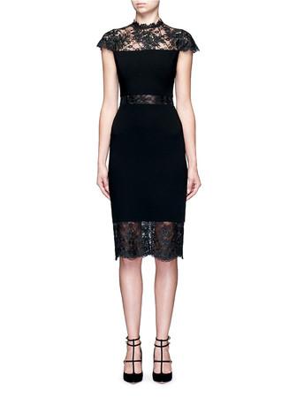 'Kim' sheer lace insert midi dress