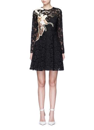 'Kimono 1997 Re-Edition' floral patchwork lace dress