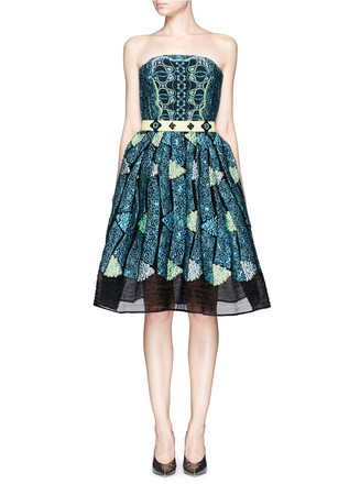 'Kinetic' atom jacquard strapless flare dress