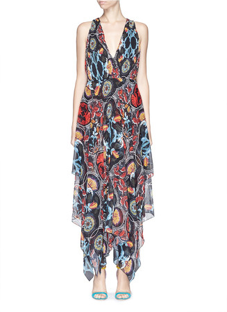 'Kora' baroque print pleat chiffon midi dress