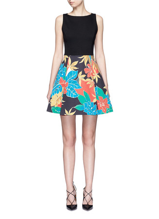 'Kourtney' floral print boat neck pleat dress