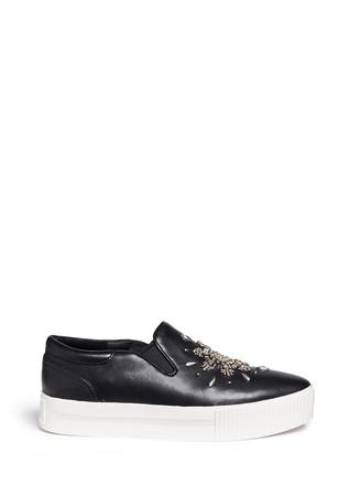 'Kristal' floral stud leather flatform sneakers