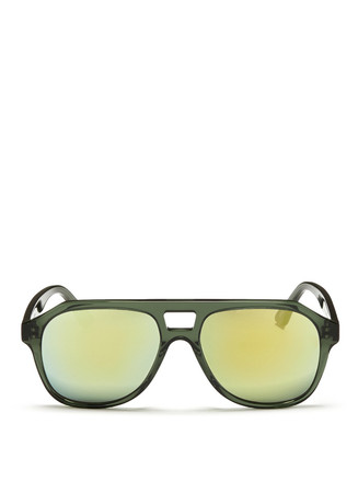'L.A.' cutout bridge acetate mirror aviator sunglasses