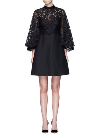 Lace cape sleeve Crepe Couture dress