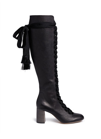 Lace-up knee high leather boots