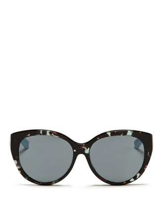 'Lady 1R' rubber and leather temple cat eye sunglasses
