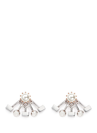 'Lady Rebel' sphere cube ear deco earrings