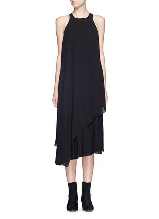 'Laetitia' layer pleat midi crepe dress