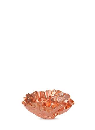 Large crinkle copper tealight candleholder