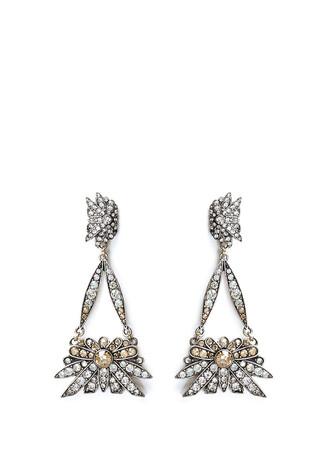 'Larkspur' floral crystal pavé drop earrings