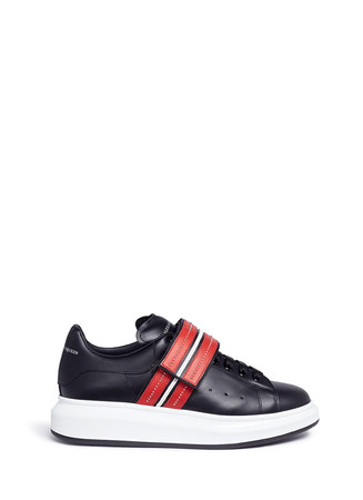 'Larry' stud strap platform leather sneakers