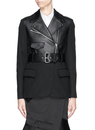 Leather biker panel crepe blazer
