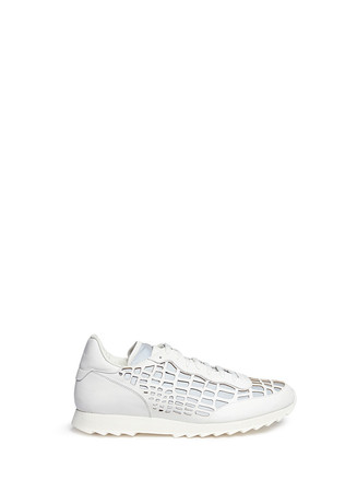 Leather cutout reflective sneakers
