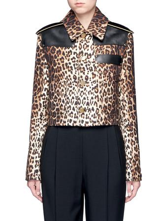 Leather patch leopard print gabardine jacket