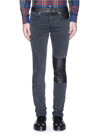 Leather patchwork distressed skinny jeans