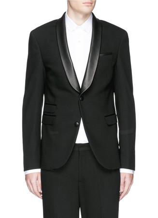 Leather shawl lapel skinny fit tuxedo blazer