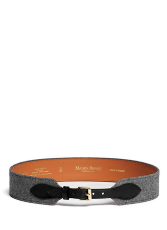 Leather strap flannel belt