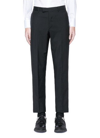 Leather stripe wool-Mohair pants