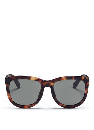 Leather temple tortoiseshell acetate sunglasses