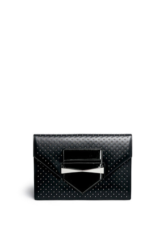 'Legend' stud patent trim leather envelope clutch