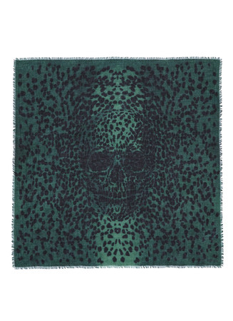 Leopard big skull cashmere-silk scarf