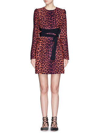 Leopard print cross sash tie crepe dress