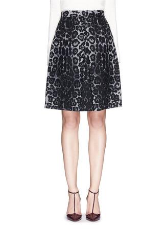 Leopard print felted wool skirt