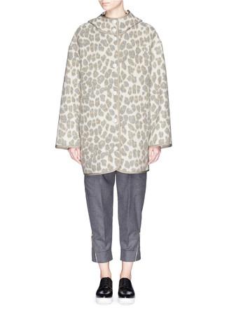 Leopard print jacquard felted wool jacket