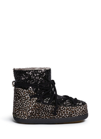Leopard sequin sheepskin shearling moon boots