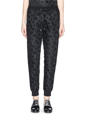 Leopard spot elastic waist track pants