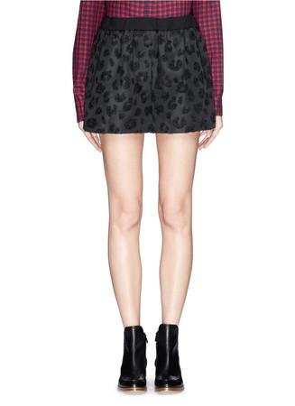 Leopard spot elastic waist track shorts