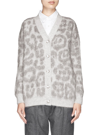 Leopard sustainable mohair-wool oversized cardigan